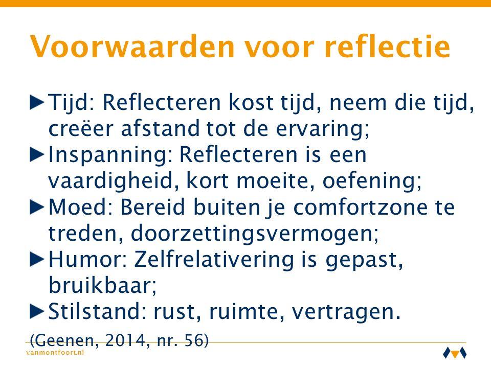 vanmontfoort.nl Voorwaarden voor reflectie Tijd: Reflecteren kost tijd, neem die tijd, creëer afstand tot de ervaring; Inspanning: Reflecteren is een