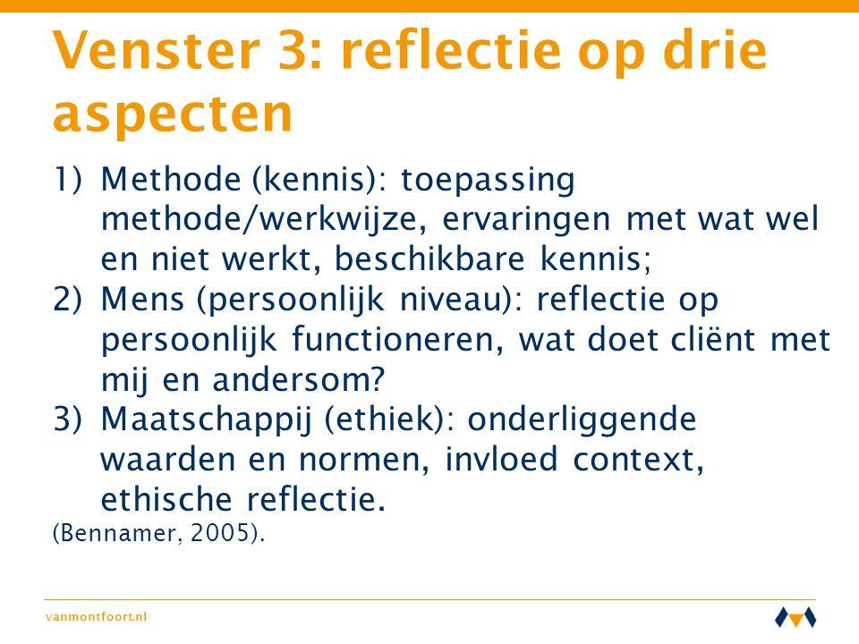 Venster 3: reflectie op drie aspecten 1)Methode (kennis): toepassing methode/werkwijze, ervaringen met wat wel en niet werkt, beschikbare kennis; 2)Me