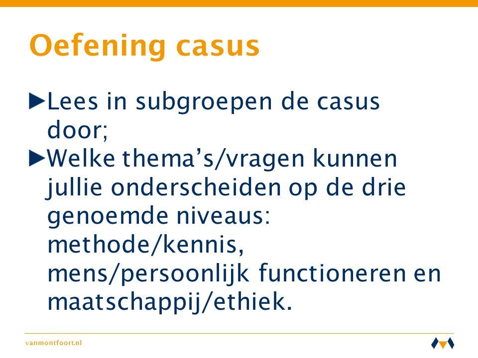 vanmontfoort.nl Oefening casus Lees in subgroepen de casus door; Welke thema's/vragen kunnen jullie onderscheiden op de drie genoemde niveaus: methode