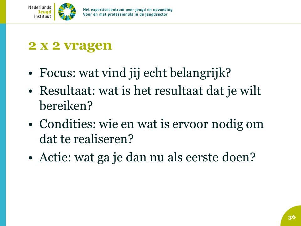 2 x 2 vragen Focus: wat vind jij echt belangrijk? Resultaat: wat is het resultaat dat je wilt bereiken? Condities: wie en wat is ervoor nodig om dat t