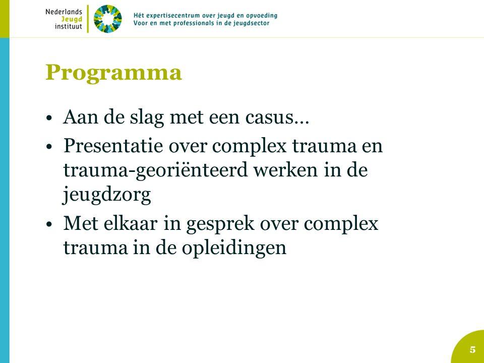 Programma Aan de slag met een casus… Presentatie over complex trauma en trauma-georiënteerd werken in de jeugdzorg Met elkaar in gesprek over complex