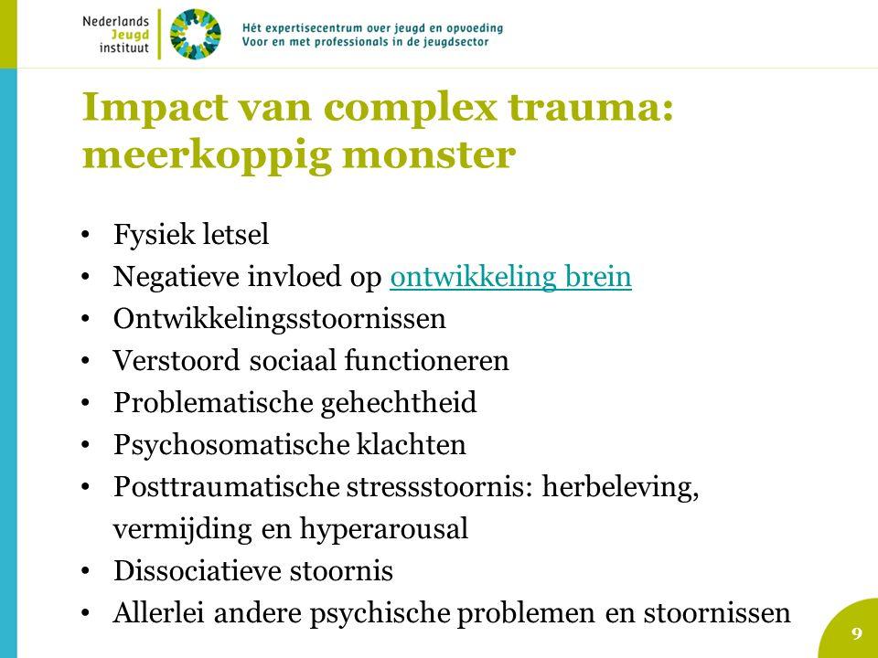 Impact van complex trauma: meerkoppig monster 9 Fysiek letsel Negatieve invloed op ontwikkeling breinontwikkeling brein Ontwikkelingsstoornissen Verst