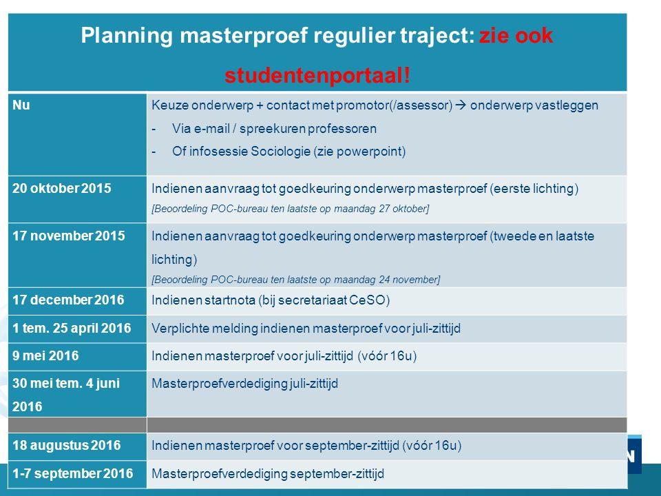 Planning masterproef regulier traject: zie ook studentenportaal.