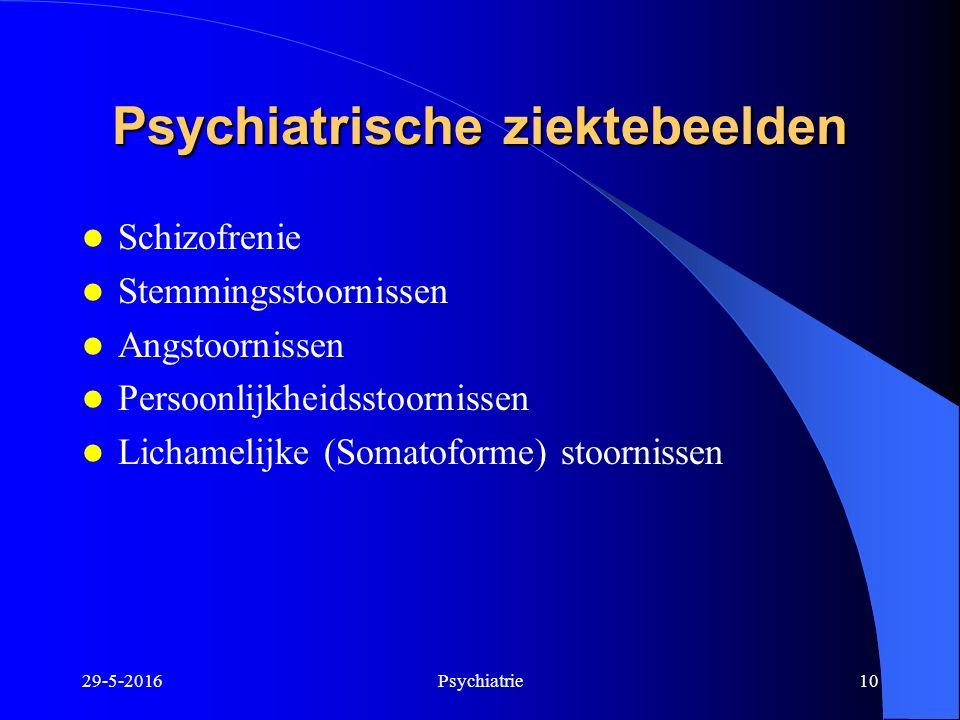 29-5-2016Psychiatrie10 Psychiatrische ziektebeelden Schizofrenie Stemmingsstoornissen Angstoornissen Persoonlijkheidsstoornissen Lichamelijke (Somatof