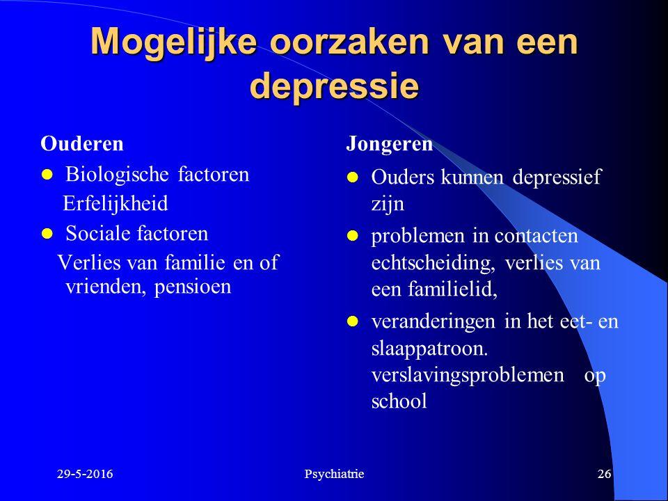 Mogelijke oorzaken van een depressie Ouderen Biologische factoren Erfelijkheid Sociale factoren Verlies van familie en of vrienden, pensioen Jongeren