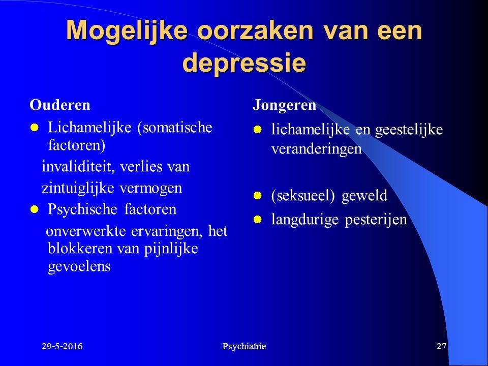 Mogelijke oorzaken van een depressie Ouderen Lichamelijke (somatische factoren) invaliditeit, verlies van zintuiglijke vermogen Psychische factoren on