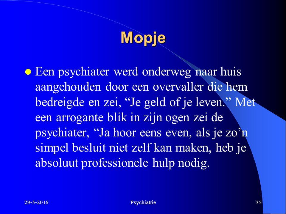 """29-5-2016Psychiatrie35 Mopje Een psychiater werd onderweg naar huis aangehouden door een overvaller die hem bedreigde en zei, """"Je geld of je leven."""" M"""