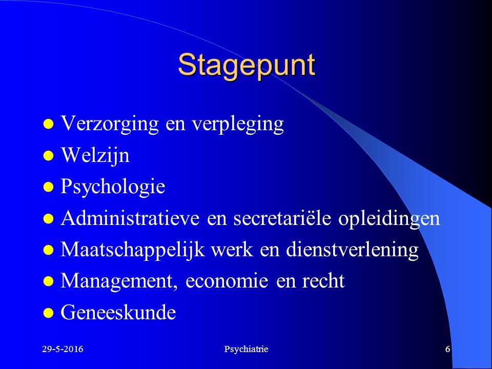 Stagepunt Verzorging en verpleging Welzijn Psychologie Administratieve en secretariële opleidingen Maatschappelijk werk en dienstverlening Management,