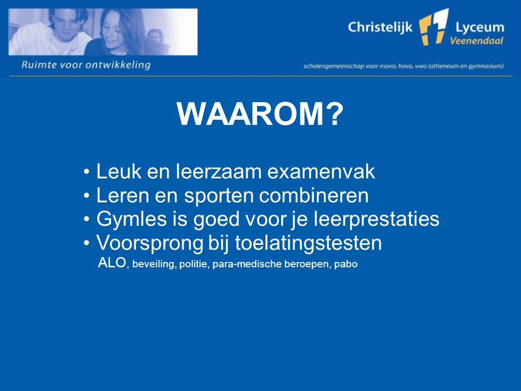 INHOUD Praktijk en theorie studielast havo 320 uur 3-3 Sportfolio en schoolexamen Pws en uitweek Maatschappelijke stage
