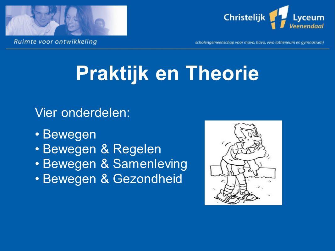 Praktijk en Theorie Vier onderdelen: Bewegen Bewegen & Regelen Bewegen & Samenleving Bewegen & Gezondheid