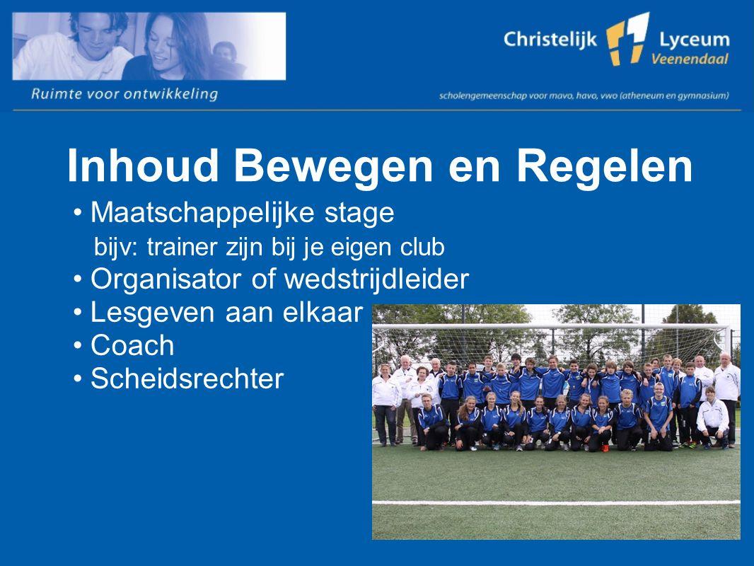 Inhoud Bewegen en Regelen Maatschappelijke stage bijv: trainer zijn bij je eigen club Organisator of wedstrijdleider Lesgeven aan elkaar Coach Scheidsrechter