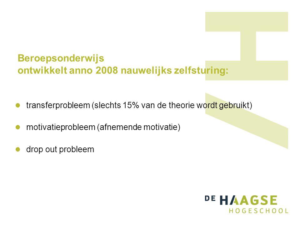 Beroepsonderwijs ontwikkelt anno 2008 nauwelijks zelfsturing: transferprobleem (slechts 15% van de theorie wordt gebruikt) motivatieprobleem (afnemende motivatie) drop out probleem