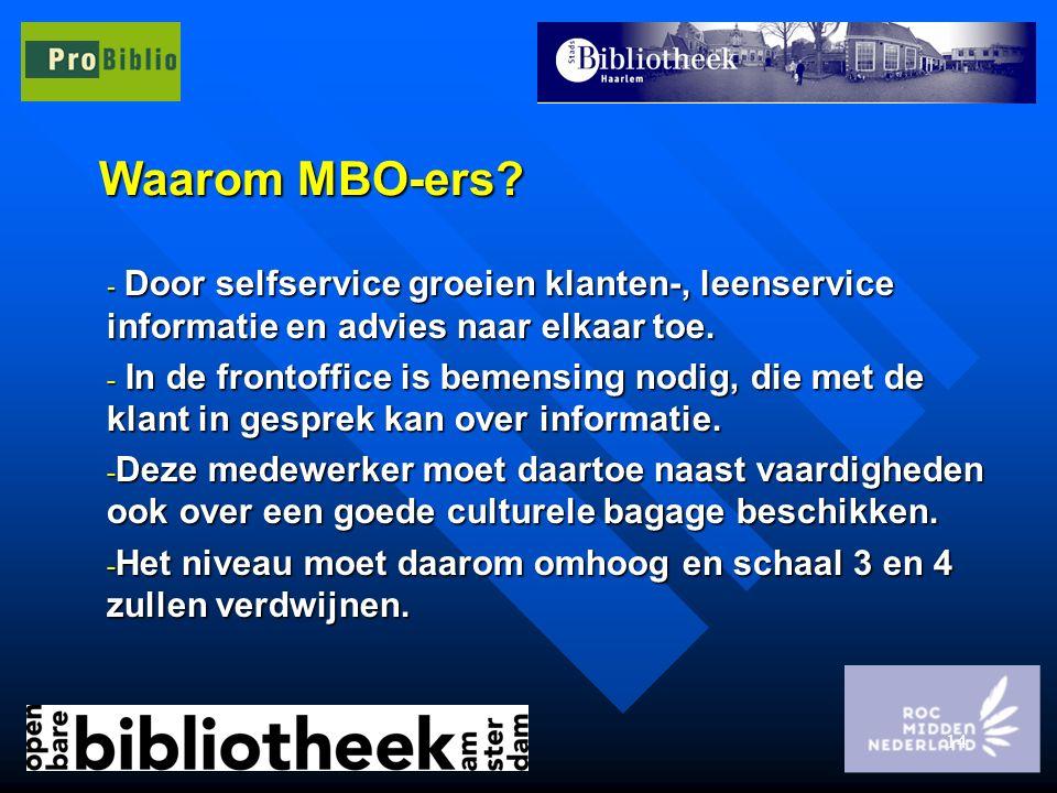 14 Waarom MBO-ers? - Door selfservice groeien klanten-, leenservice informatie en advies naar elkaar toe. - In de frontoffice is bemensing nodig, die
