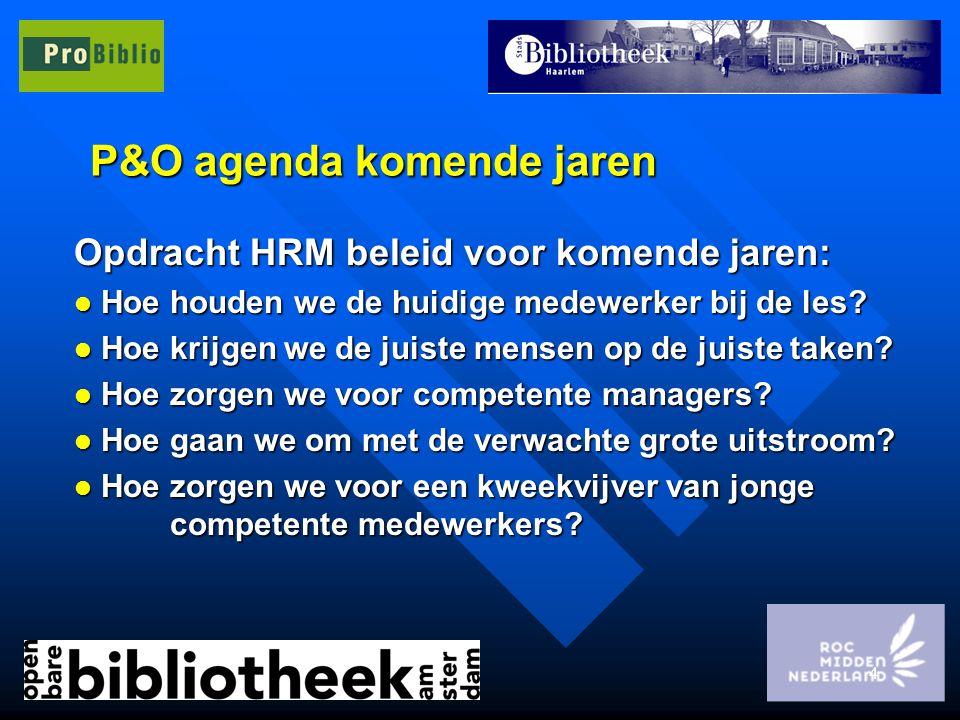 4 P&O agenda komende jaren Opdracht HRM beleid voor komende jaren: l Hoe houden we de huidige medewerker bij de les? l Hoe krijgen we de juiste mensen