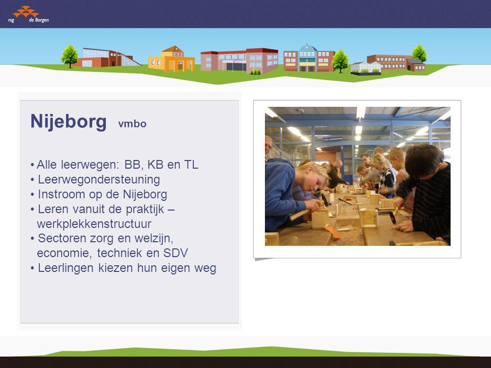 Nijeborg vmbo Alle leerwegen: BB, KB en TL Leerwegondersteuning Instroom op de Nijeborg Leren vanuit de praktijk – werkplekkenstructuur Sectoren zorg en welzijn, economie, techniek en SDV Leerlingen kiezen hun eigen weg