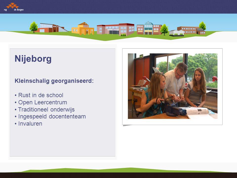Nijeborg Kleinschalig georganiseerd: Rust in de school Open Leercentrum Traditioneel onderwijs Ingespeeld docententeam Invaluren