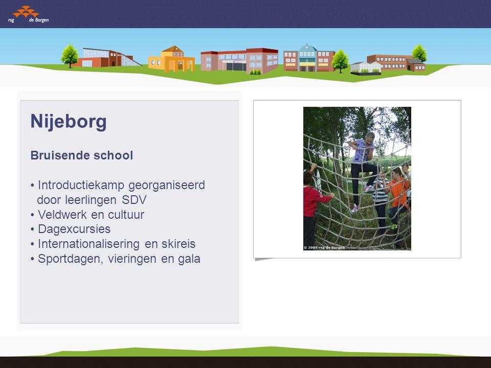 Nijeborg Bruisende school Introductiekamp georganiseerd door leerlingen SDV Veldwerk en cultuur Dagexcursies Internationalisering en skireis Sportdagen, vieringen en gala