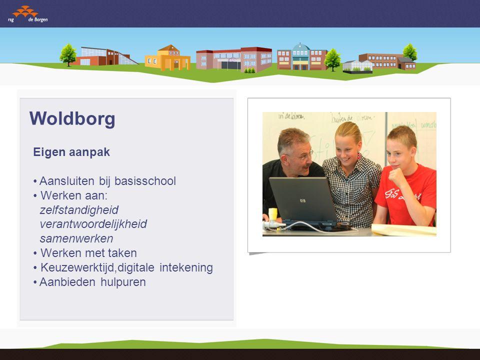 Woldborg Eigen aanpak Aansluiten bij basisschool Werken aan: zelfstandigheid verantwoordelijkheid samenwerken Werken met taken Keuzewerktijd,digitale