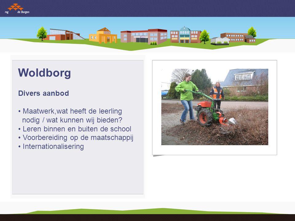 Woldborg Divers aanbod Maatwerk,wat heeft de leerling nodig / wat kunnen wij bieden? Leren binnen en buiten de school Voorbereiding op de maatschappij