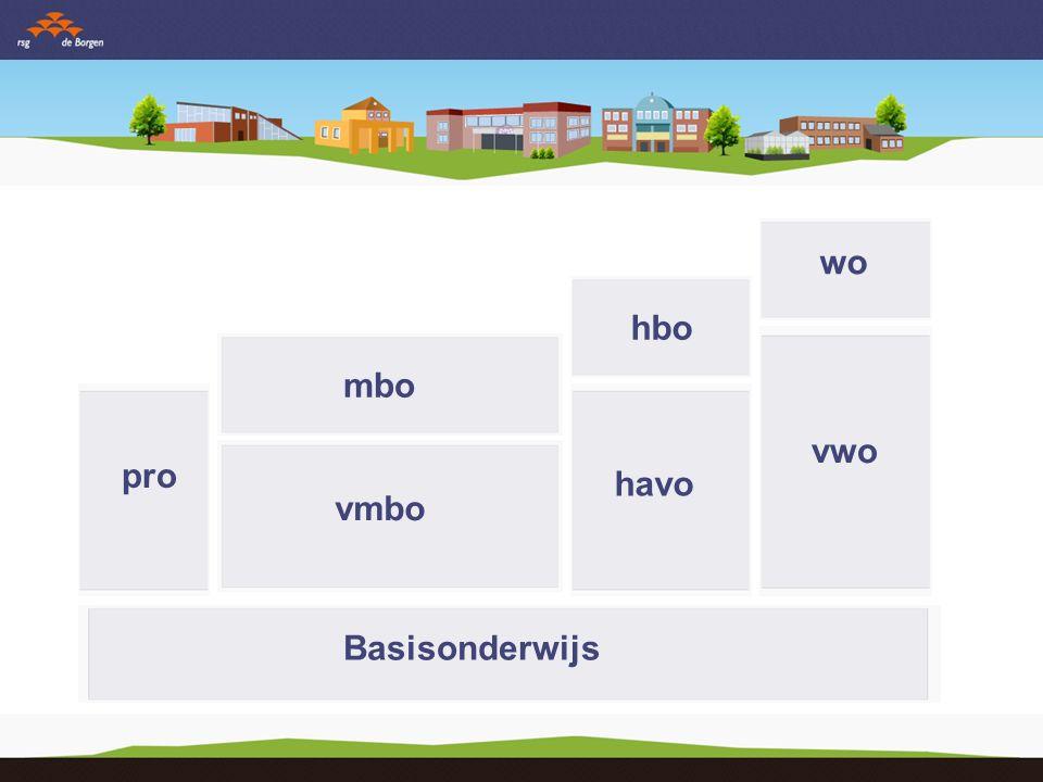 Basisonderwijs vmbo pro havo vwo mbo hbo wo