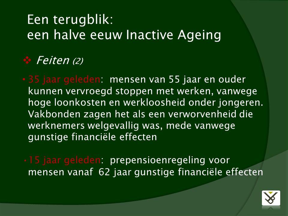 Een terugblik: een halve eeuw Inactive Ageing 35 jaar geleden: mensen van 55 jaar en ouder kunnen vervroegd stoppen met werken, vanwege hoge loonkosten en werkloosheid onder jongeren.