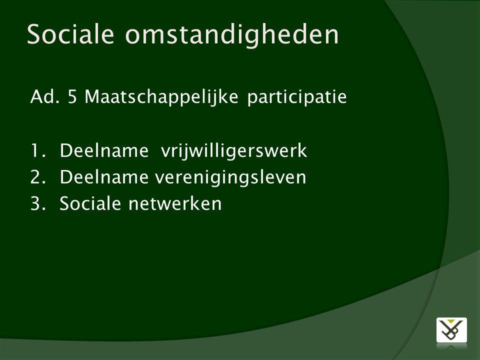 Sociale omstandigheden Ad. 5 Maatschappelijke participatie 1.