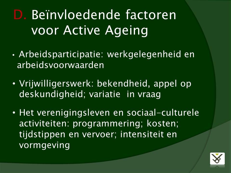 D. Beïnvloedende factoren voor Active Ageing Arbeidsparticipatie: werkgelegenheid en arbeidsvoorwaarden Vrijwilligerswerk: bekendheid, appel op deskun