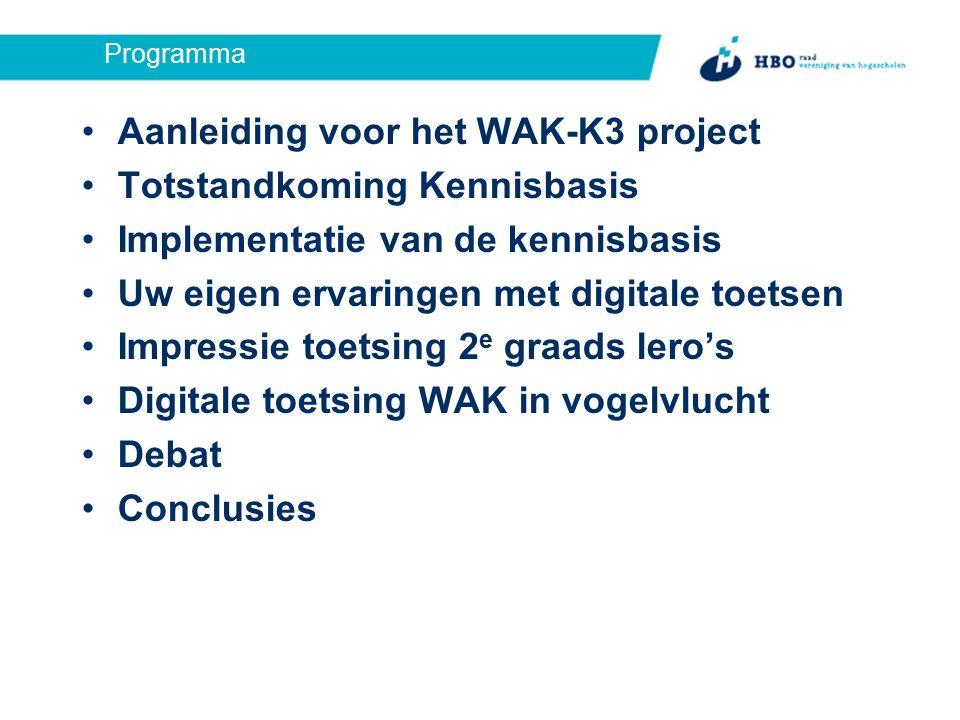 Programma Aanleiding voor het WAK-K3 project Totstandkoming Kennisbasis Implementatie van de kennisbasis Uw eigen ervaringen met digitale toetsen Impressie toetsing 2 e graads lero's Digitale toetsing WAK in vogelvlucht Debat Conclusies