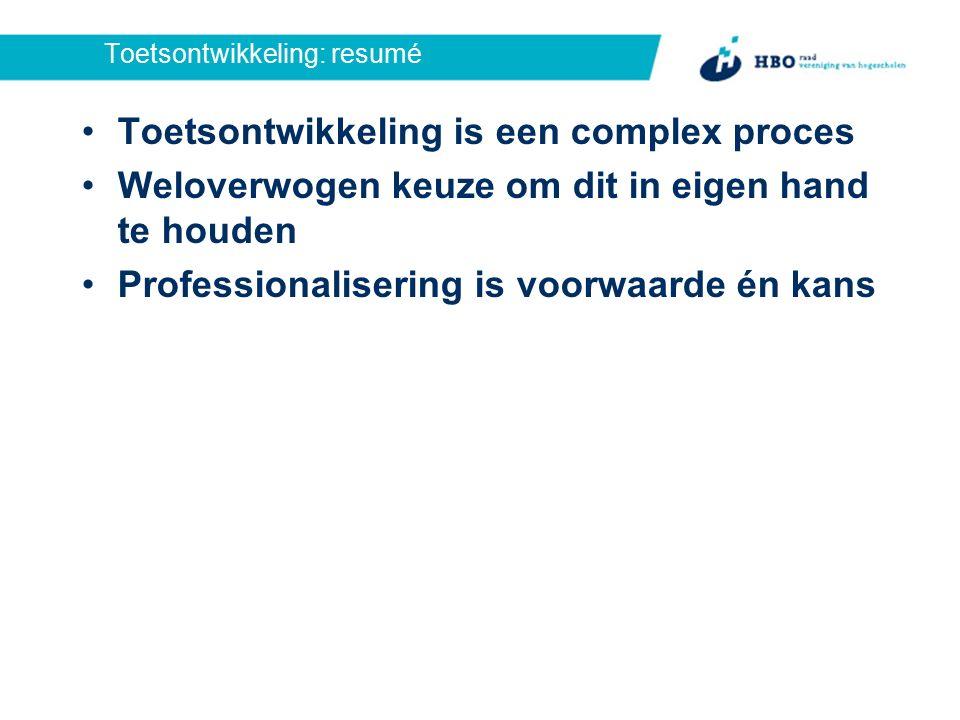 Toetsontwikkeling: resumé Toetsontwikkeling is een complex proces Weloverwogen keuze om dit in eigen hand te houden Professionalisering is voorwaarde én kans