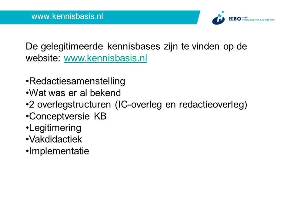 www.kennisbasis.nl De gelegitimeerde kennisbases zijn te vinden op de website: www.kennisbasis.nlwww.kennisbasis.nl Redactiesamenstelling Wat was er al bekend 2 overlegstructuren (IC-overleg en redactieoverleg) Conceptversie KB Legitimering Vakdidactiek Implementatie