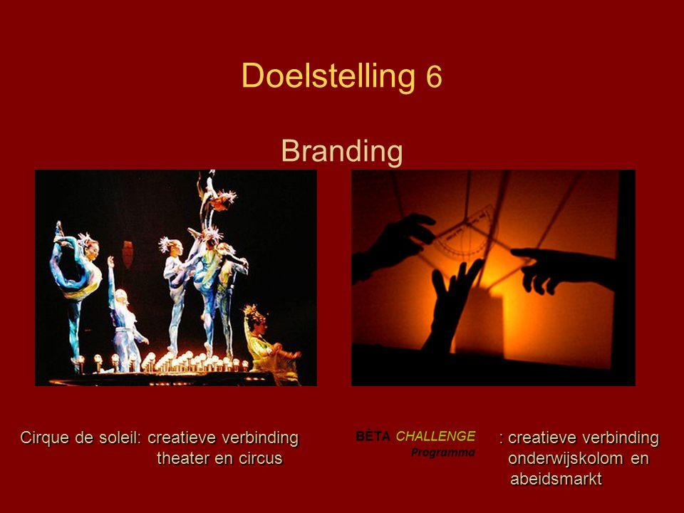 Doelstelling 6 Branding ) Cirque de soleil: creatieve verbinding : creatieve verbinding theater en circus onderwijskolom en abeidsmarkt