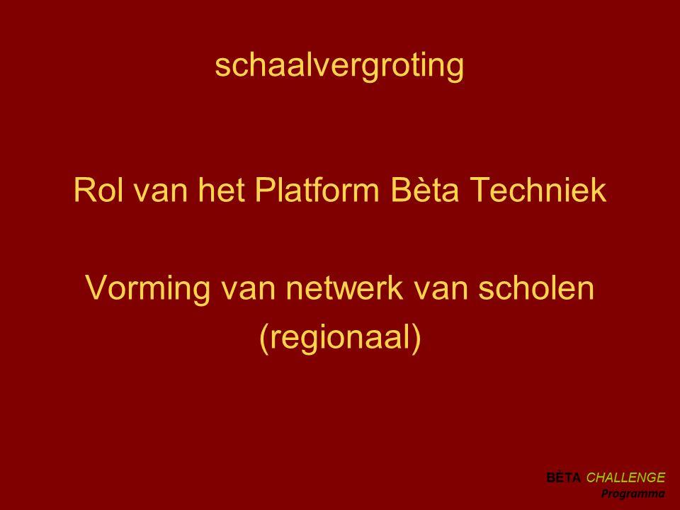 schaalvergroting Rol van het Platform Bèta Techniek Vorming van netwerk van scholen (regionaal)