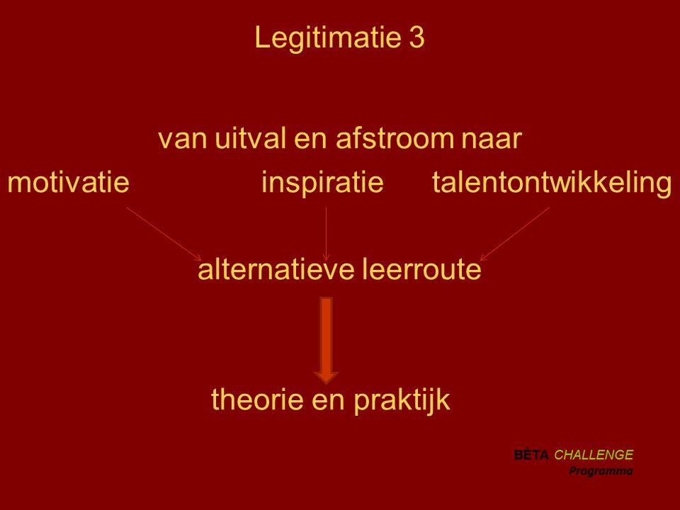 Legitimatie 3 van uitval en afstroom naar motivatie inspiratie talentontwikkeling alternatieve leerroute theorie en praktijk