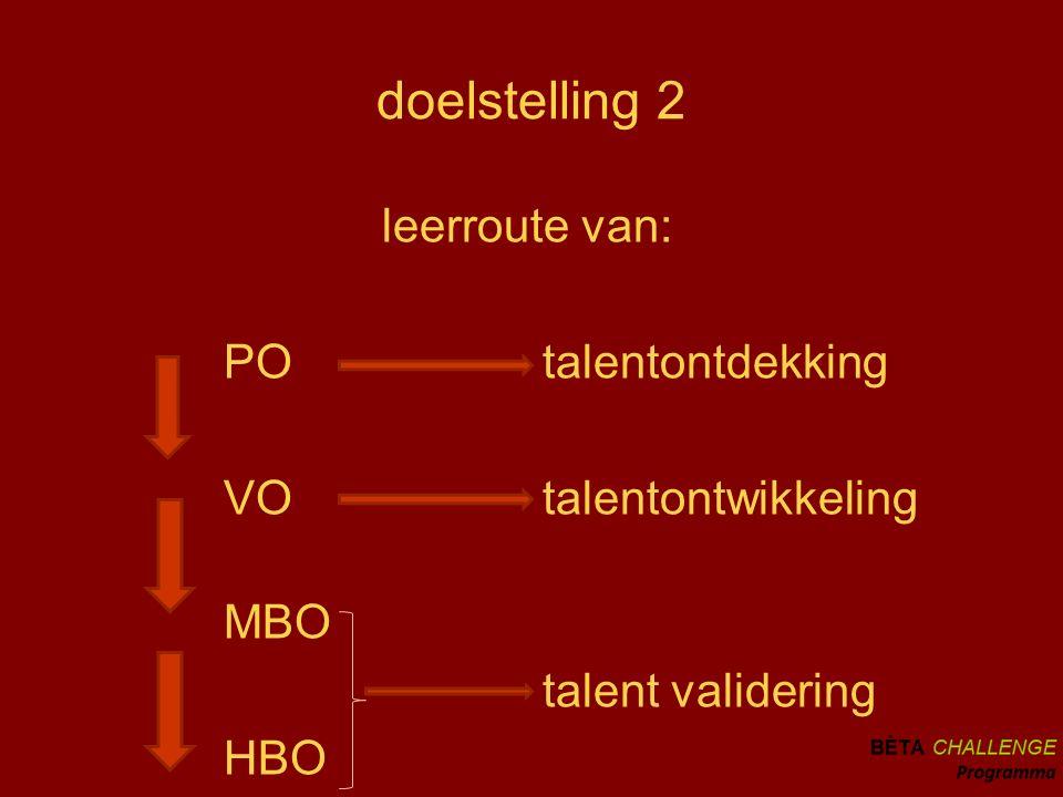 doelstelling 2 leerroute van: PO talentontdekking VO talentontwikkeling MBO talent validering HBO