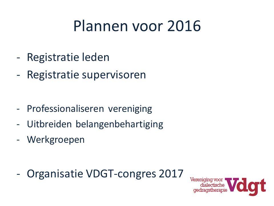 Plannen voor 2016 -Registratie leden -Registratie supervisoren -Professionaliseren vereniging -Uitbreiden belangenbehartiging -Werkgroepen -Organisatie VDGT-congres 2017