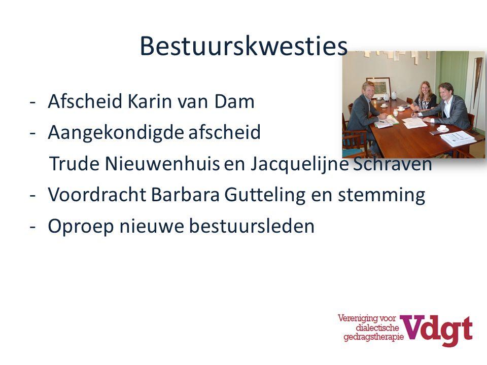 Bestuurskwesties -Afscheid Karin van Dam -Aangekondigde afscheid Trude Nieuwenhuis en Jacquelijne Schraven -Voordracht Barbara Gutteling en stemming -Oproep nieuwe bestuursleden