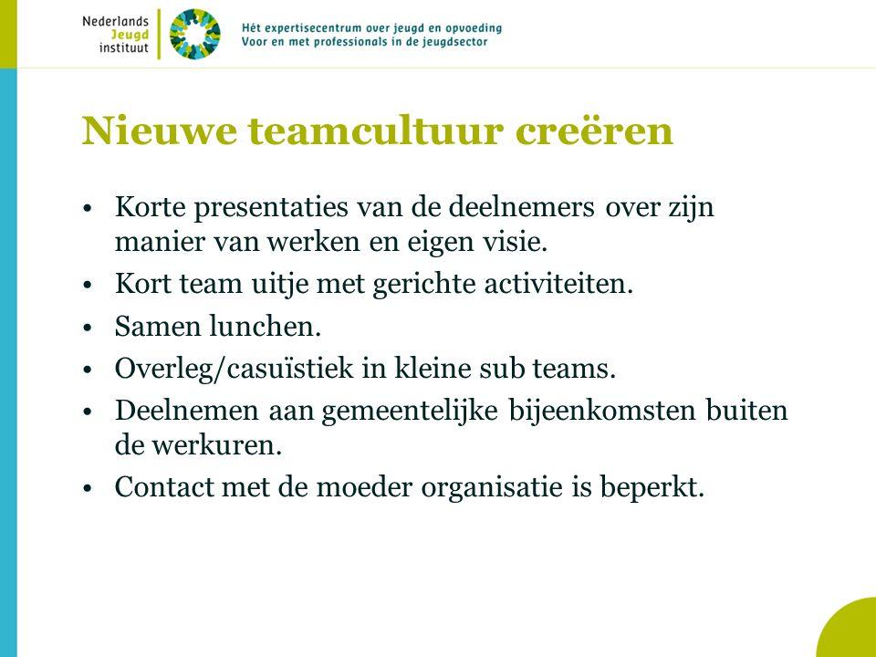 Nieuwe teamcultuur creëren Korte presentaties van de deelnemers over zijn manier van werken en eigen visie.