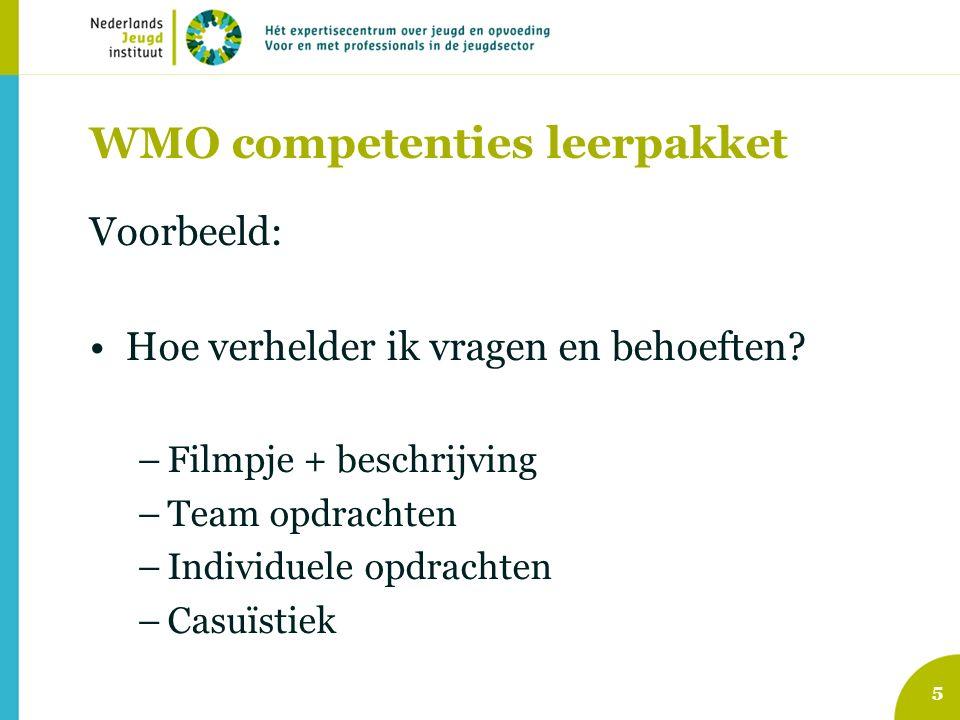WMO competenties leerpakket Voorbeeld: Hoe verhelder ik vragen en behoeften.
