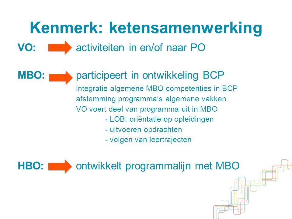 Kenmerk: ketensamenwerking VO:activiteiten in en/of naar PO MBO:participeert in ontwikkeling BCP integratie algemene MBO competenties in BCP afstemming programma's algemene vakken VO voert deel van programma uit in MBO - LOB: oriëntatie op opleidingen - uitvoeren opdrachten - volgen van leertrajecten HBO:ontwikkelt programmalijn met MBO