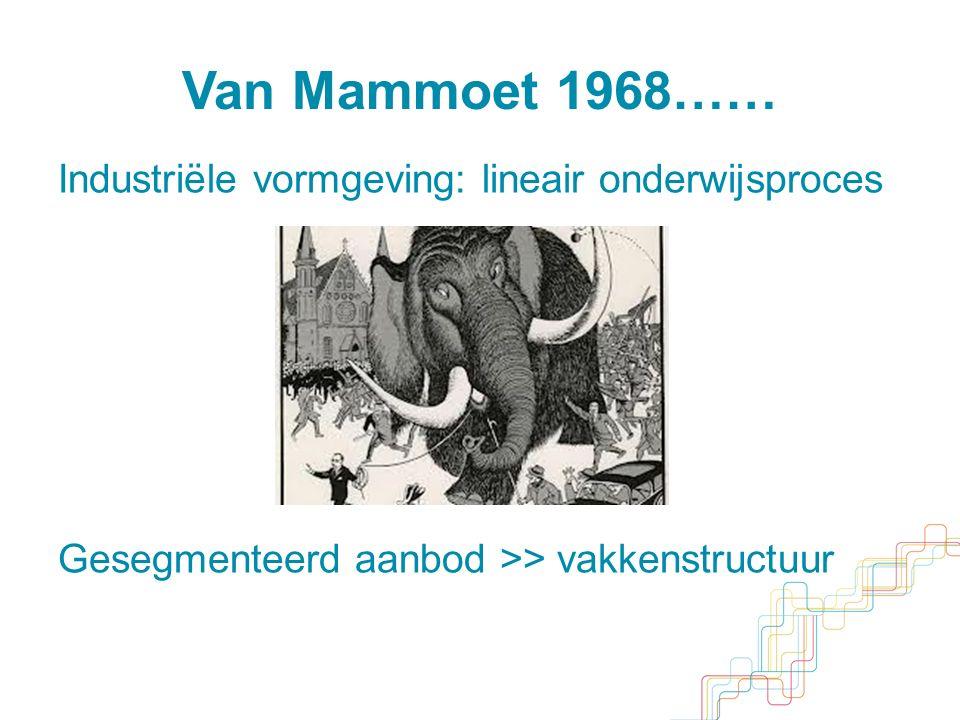 Van Mammoet 1968…… Industriële vormgeving: lineair onderwijsproces Gesegmenteerd aanbod >> vakkenstructuur