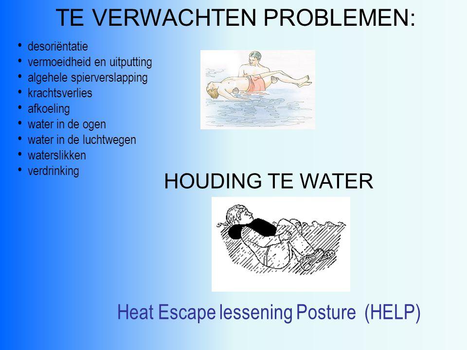 PREVENTIE Na te water raken: voorkom paniek zorg voor drijfvermogen en adembescherming geen of minimale zwembeweging juiste houding aannemen