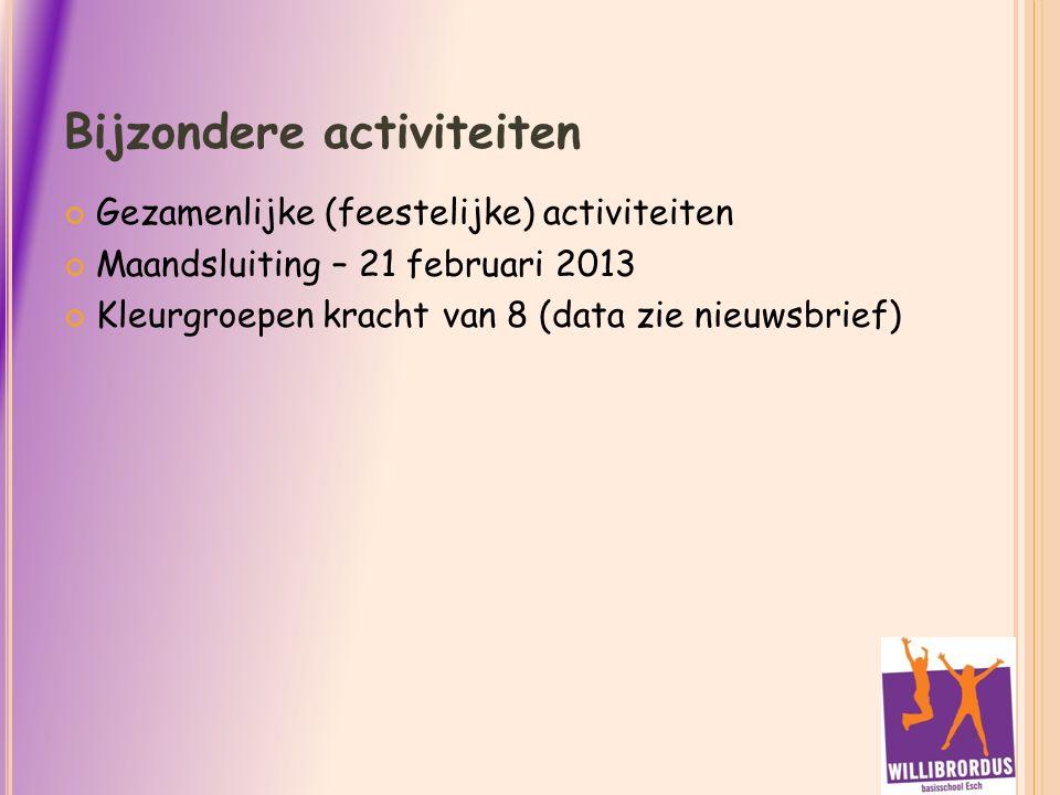 Bijzondere activiteiten Gezamenlijke (feestelijke) activiteiten Maandsluiting – 21 februari 2013 Kleurgroepen kracht van 8 (data zie nieuwsbrief)