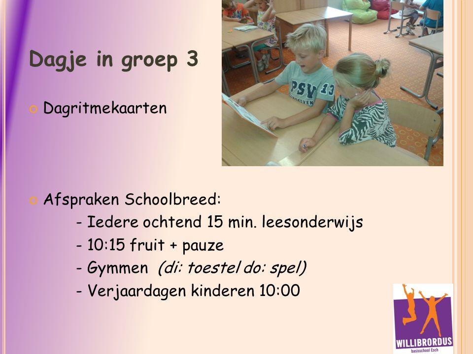 Dagje in groep 3 Dagritmekaarten Afspraken Schoolbreed: - Iedere ochtend 15 min.