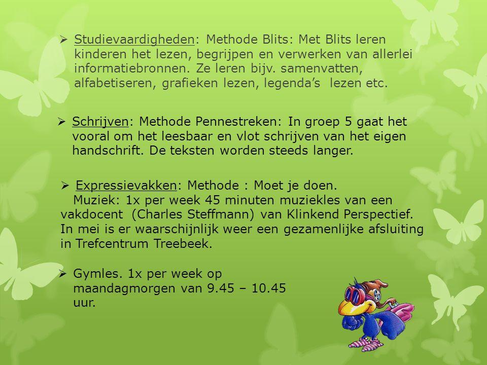  Studievaardigheden: Methode Blits: Met Blits leren kinderen het lezen, begrijpen en verwerken van allerlei informatiebronnen. Ze leren bijv. samenva