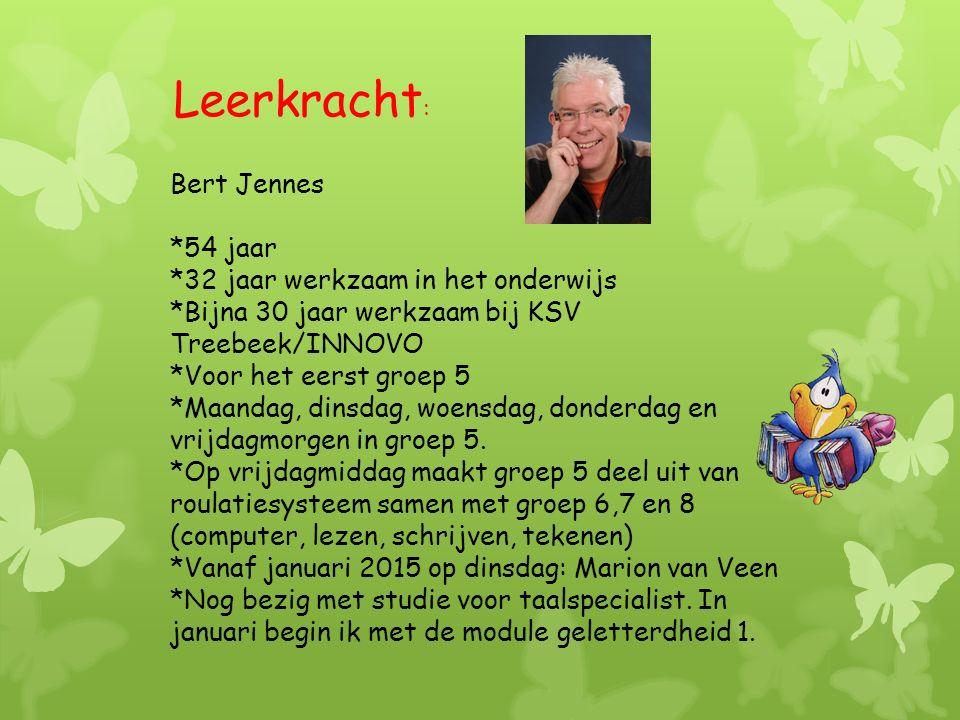 Bert Jennes *54 jaar *32 jaar werkzaam in het onderwijs *Bijna 30 jaar werkzaam bij KSV Treebeek/INNOVO *Voor het eerst groep 5 *Maandag, dinsdag, woensdag, donderdag en vrijdagmorgen in groep 5.