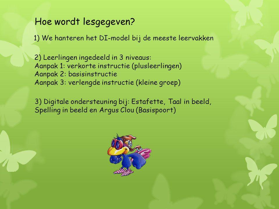 1) We hanteren het DI-model bij de meeste leervakken 3) Digitale ondersteuning bij: Estafette, Taal in beeld, Spelling in beeld en Argus Clou (Basispoort) Hoe wordt lesgegeven.