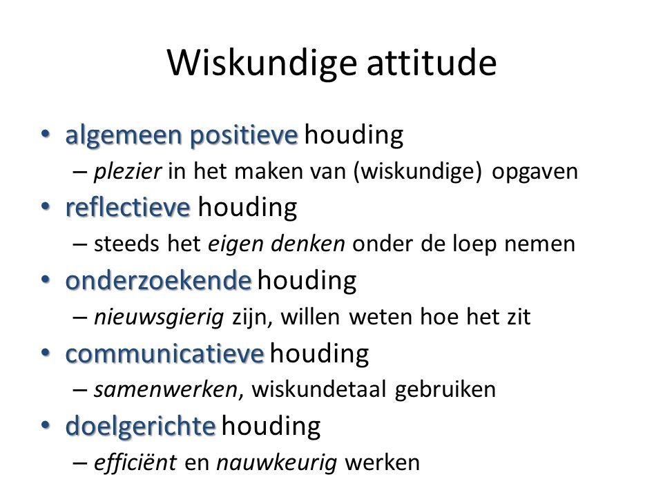 Wiskundige attitude algemeen positieve algemeen positieve houding – plezier in het maken van (wiskundige) opgaven reflectieve reflectieve houding – st
