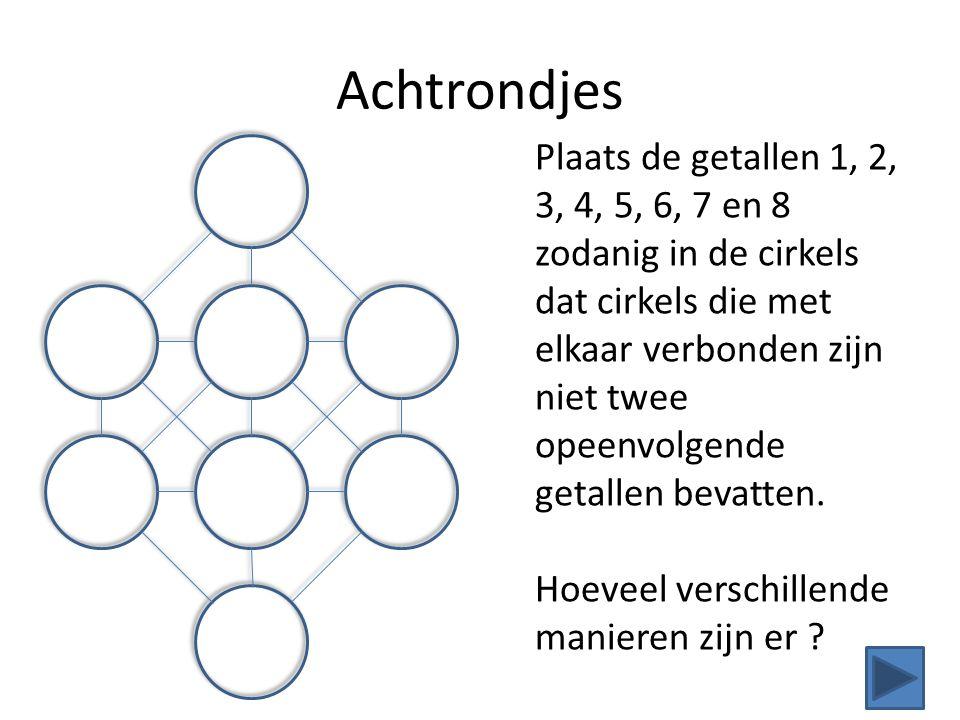 Achtrondjes Plaats de getallen 1, 2, 3, 4, 5, 6, 7 en 8 zodanig in de cirkels dat cirkels die met elkaar verbonden zijn niet twee opeenvolgende getall