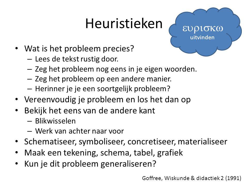 Heuristieken Wat is het probleem precies? – Lees de tekst rustig door. – Zeg het probleem nog eens in je eigen woorden. – Zeg het probleem op een ande