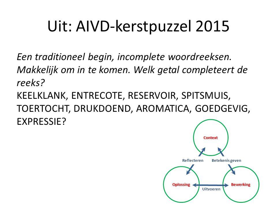 Uit: AIVD-kerstpuzzel 2015 Een traditioneel begin, incomplete woordreeksen. Makkelijk om in te komen. Welk getal completeert de reeks? KEELKLANK, ENTR